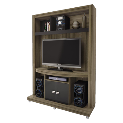 mueble para living caemmun ipe modular tv nogal negro