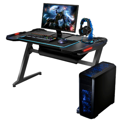MESA GAMER LEVEL UP MODELO GAIA CON LUZ LED